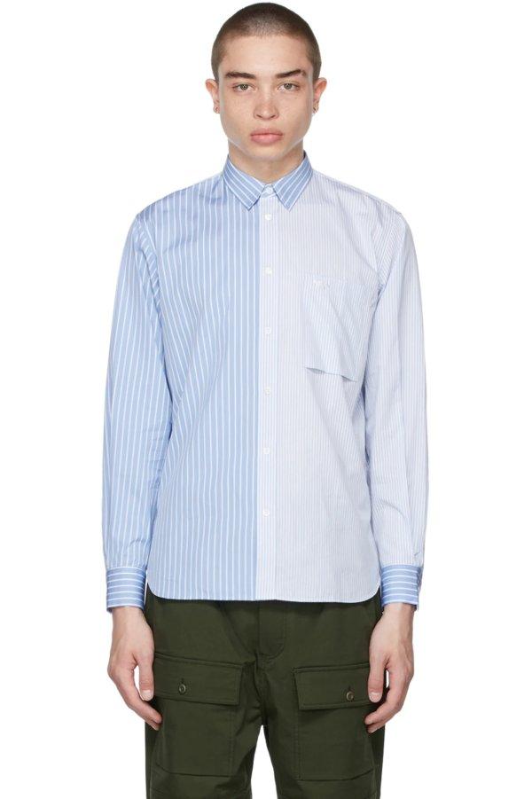 蓝色条纹单口袋衬衫