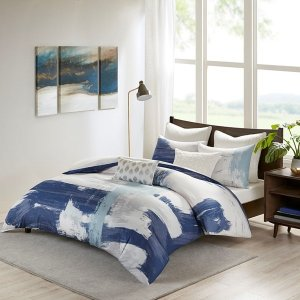 Heather Cotton Brushstroke Print Duvet Cover Mini Set By INK+IVY - Designer Living