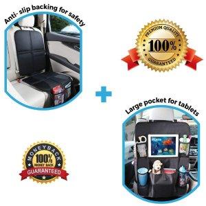 $19.99(原价$29.99)Leo&Ella 汽车安全座椅保护垫+椅背收纳袋两件套