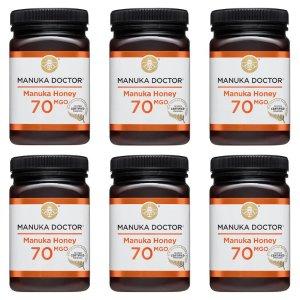 现价€117.67 (原价€458.92)Manuka Doctor 超值6瓶装 70MGO 500G 蜂蜜超低价收