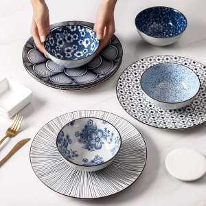 4只$26.69(原价$49.99)蓝白花纹瓷碗 实用宽口深碗 做工优秀优质瓷器