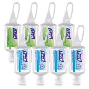 PURELL Advanced Hand Sanitizer, 1 fl oz travel size flip-cap bottle with JELLY WRAP Carrier (Pack of 8)