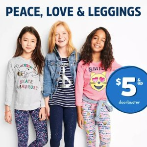 $5 and Up + Free ShippingGirls Peace, Love, & Leggings Doorbuster @ OshKosh BGosh