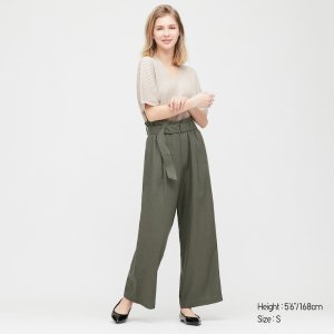 Uniqlo墨绿色阔腿裤