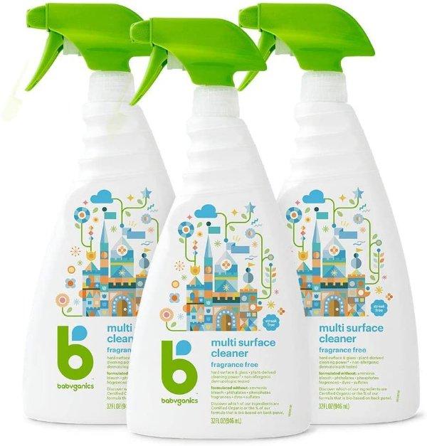 天然配方多种表面清洁液 32oz 喷壶 3瓶装
