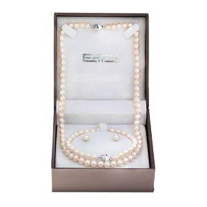$97.99 (原价$350)EFFY 6.5mm淡水珍珠项链+耳钉+手链套装