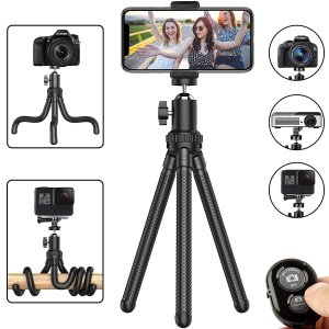 $7.94Erligpowht Flexible Cell Phone Tripod Adjustable Camera Stand Holder with Wireless Remote