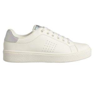 银光白平底鞋