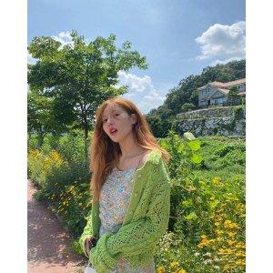 Zara泫雅同款牛油果绿针织开衫