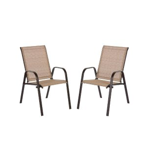 Hampton BayMix and Match Brown Stackable Sling Outdoor Dining Chair in Cafe (2-Pack)