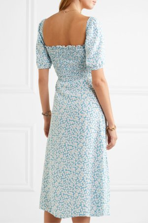 Faithfull The Brand | Majorelle shirred floral-print crepe de chine midi dress | NET-A-PORTER.COM