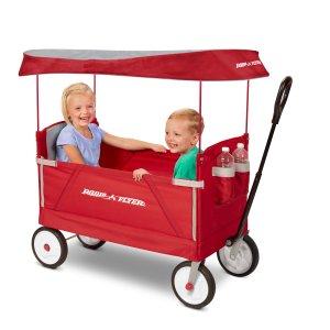 $78 (原价$109.97) 包邮Radio Flyer 三合一可折叠带顶蓬双人儿童拖车