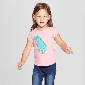 0f557b8d9 Cat & JackToddler Girls' Dinosaur Short Sleeve T-Shirt - Cat ...