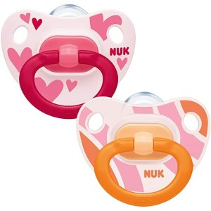 NUK安抚牙胶, 0-6 Months, Silicone, BPA Free, 2 Count (Product Design may vary)