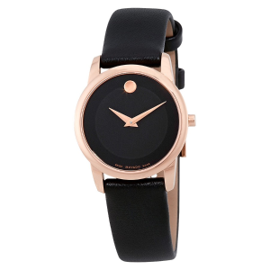 EXTRA $50 OFFMOVADO  Museum Classic Rose Gold-Tone Black Dial Ladies Watch 0607079