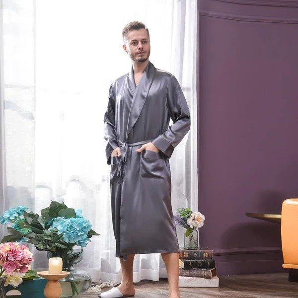 19姆米男士真丝长睡袍