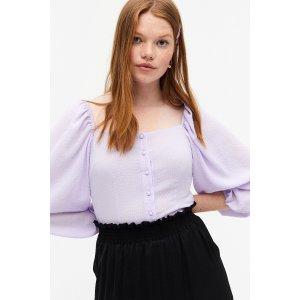 Monki香芋紫方领上衣