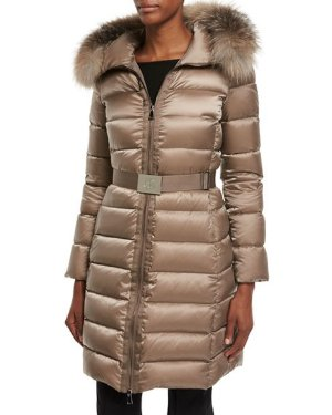 Neiman Marcus Tinuviel Shiny Quilted Puffer Coat w/Fur Hood
