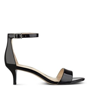 Leisa Ankle Strap Sandals - Black Patent