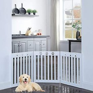UniPaws Paw Deco 3 Panel Dog Gate White Assembly-Free, 20