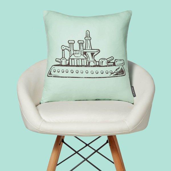 Ship Letterpress Square Cushion