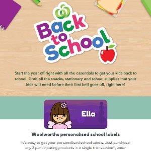 免费送 学生定制标签贴Woolworth 购买3件Back to school产品有好礼