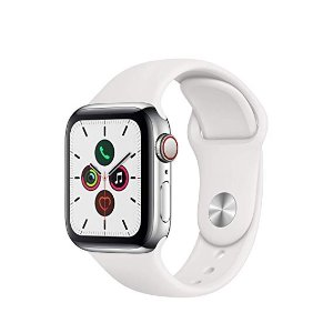 AppleApple Watch Series 5 (GPS + Cellular, 40mm) - ​ Stainless Steel Case with White Sport Band