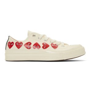 Comme des Garcons Play- Off-White Converse Edition Multiple Hearts Chuck 70 Sneakers