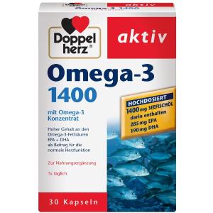 30粒仅售€4.45 家人和你都能吃Doppelherz 双心 Omega-3 鱼油 1400毫克版本 心脑血管救星