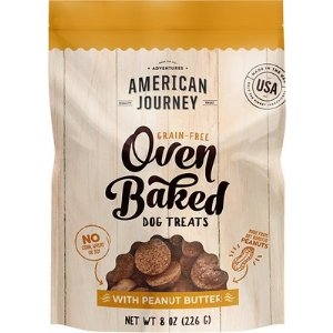 American JourneyPeanut Butter Recipe Grain-Free Oven Baked Crunchy Biscuit Dog Treats, 8-oz bag - Chewy.com