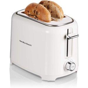 $18.99(原价$22.99) 槽位宽可烤贝果Hamilton Beach 烤面包机 类似Smeg款 白色小清新