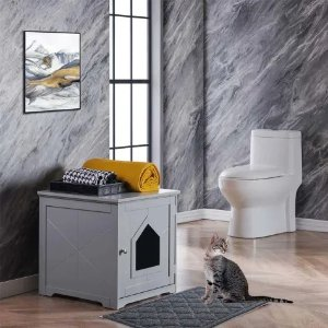Gray Indoor Cat House with Mat, 19