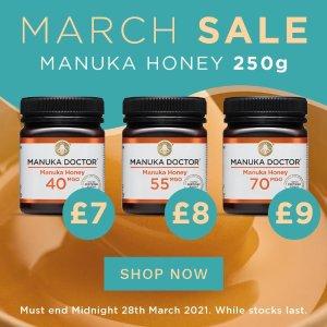 低至2.3折+额外9折Manuka Doctor 三月蜂蜜精选 不同MGO浓度蜂蜜促销中