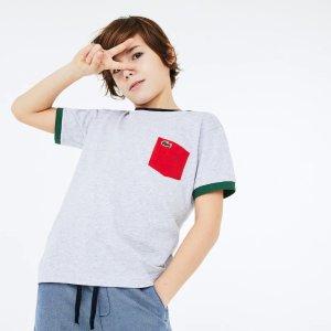 Lacoste男童 圆领拼色T恤