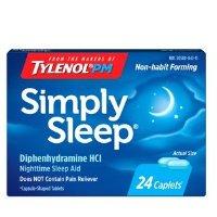 Tylenol Simply Sleep 助眠剂,苯海拉明 25mg, 24 ct