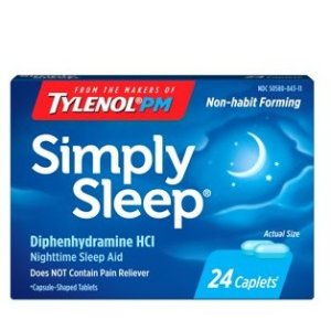 Tylenol Simply Sleep 助眠剂,苯海拉明 25mg, 24 ct