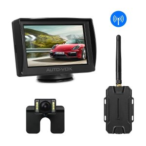 $71AUTO-VOX M1W Wireless Backup Camera Kit,IP 68 Waterproof LED Super Night Vision License Plate Reverse Rear View Back Up Car Camera,4.3'' TFT LCD Rearview Monitor for Vans,Camping Cars,Trucks,RVs