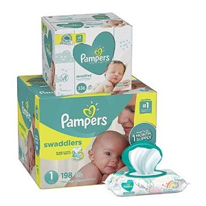 $10 OffPampers Swaddlers Disposable Baby Diapers Size 1-6 + Baby Wipes Sensitive Pop-Top Packs, 336 Count@ Amazon