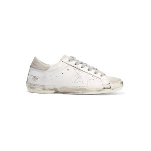 GOLDEN GOOSESuperstar distressed leather and suede sneakers