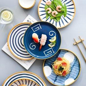 3.8特卖日式陶瓷餐具 牛排餐盘 4.5寸碗 8寸平盘