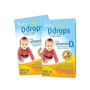 超值  折合仅¥90.5/瓶Ddrops美版加拿大婴儿维生素D3滴剂  2瓶装