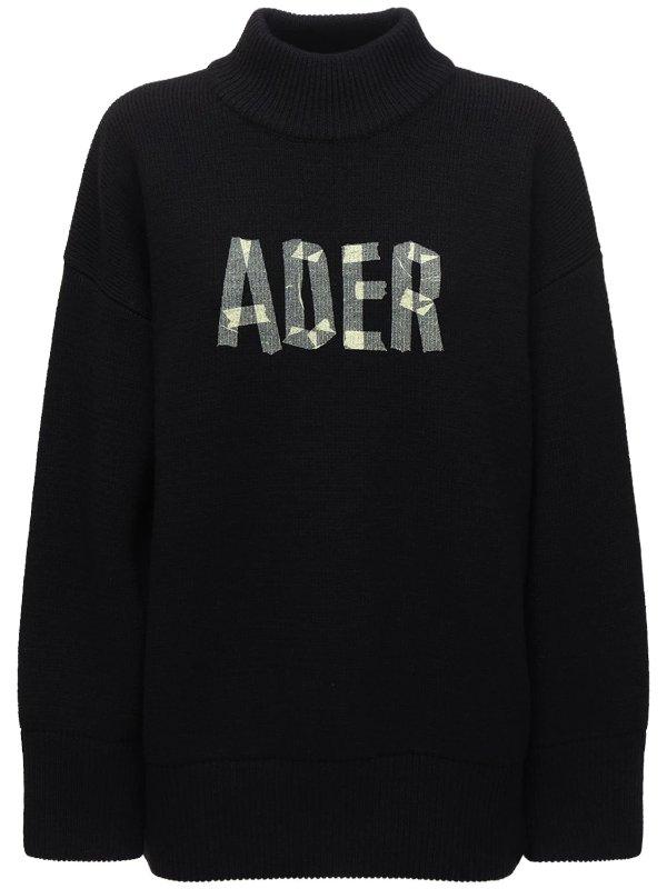 黑色logo毛衣