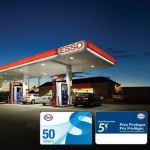 $118(原价$150)Esso $50电子加油卡+$100电子省油卡特价