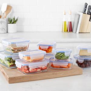 10件套折后€14 原价€26AmazonBasics 自营保鲜盒套装 玻璃材质更健康 10个盒子带盖
