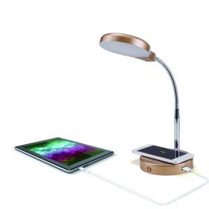 $5 (原价$19.92)Mainstays LED 台灯,自带无线充电与USB接口,金色