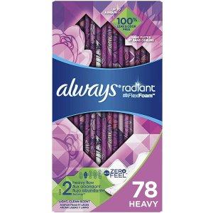 $12.43(原价$32.99)Always Radiant 日用液体卫生巾78个装