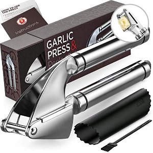 Alpha Grillers 不锈钢压蒜器+清洁小刷子+硅胶去蒜皮工具