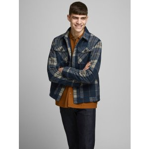 JackJones格纹羊毛外套