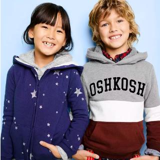 一律5折+额外$7.5折 0-14岁码都有OshKosh BGosh 儿童实用薄款卫衣$9.75起 绒绒卫衣$16.5
