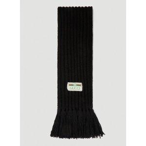 Gucci黑色logo围巾